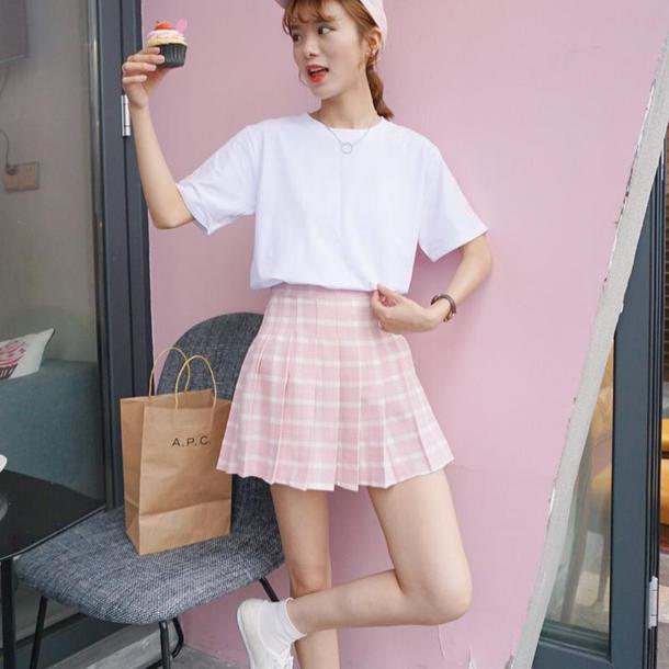 skirt plaid skirt plaid girly tennis skirt pink skirt tumblr outfit cute outfits