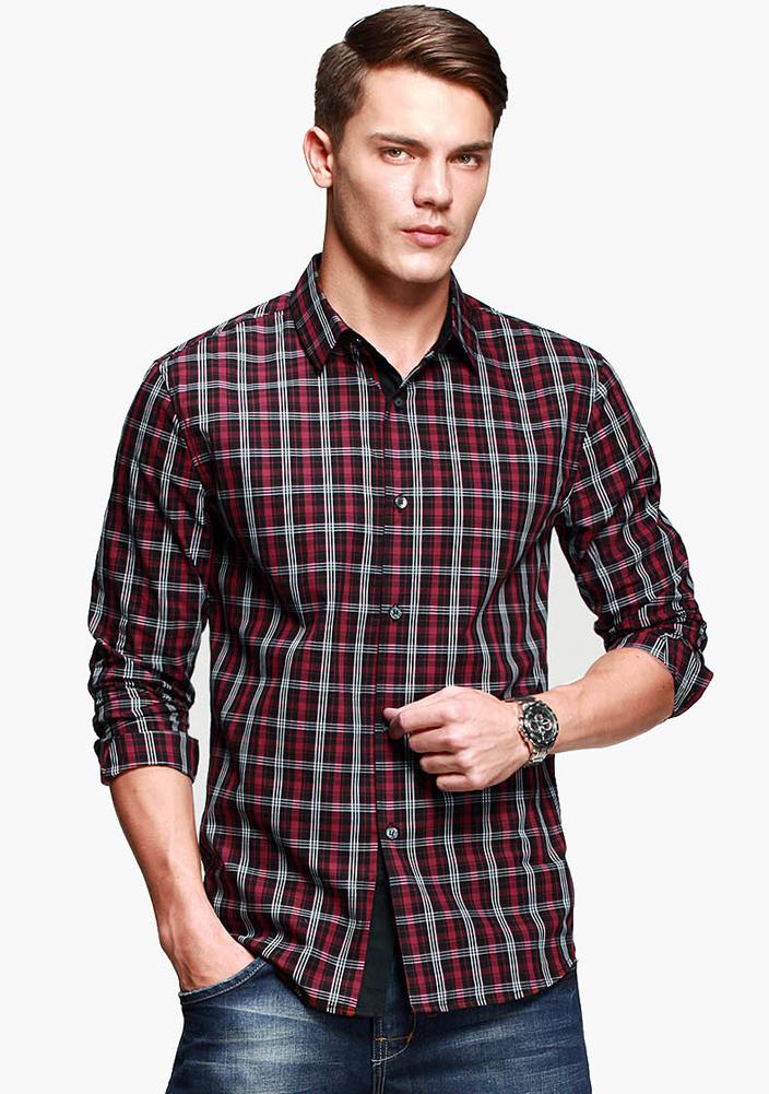 Men's trendy plaid pattern long sleeve slim