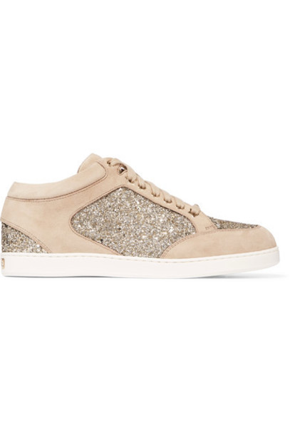 Jimmy Choo suede sneakers glitter miami sneakers suede beige shoes