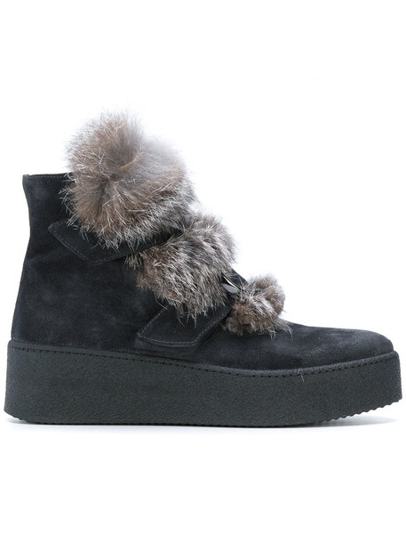 fur women ankle boots leather suede black shoes