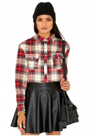 Nafisa Tartan Blouse Crop Top - Tops - Bralets and Crop Tops - Missguided
