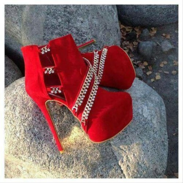Shoes: red, clubwear, heels, diamonds - Wheretoget