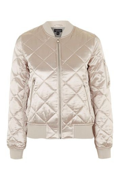 shiny pale quilted pink jacket