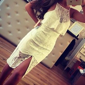 dress white dress lace dress midi dress beautiful dress