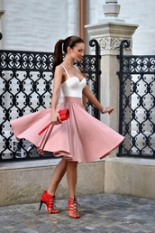 my silk fairytale,skirt,shoes,bag,midi skirt,heels,summer outfits,clutch,feminine,high wasited,top,pink,pink skirt,dress,cute dress,sexy dress,short dress,party dress,pink dress,outfit,outfit idea,cute outfits,spring outfits,date outfit,party outfits,trendy,fashion,stylish,style,clubwear,club dress,sexy party dresses,short party dresses,special occasion dress,sexy shoes,party shoes,cute shoes,summer shoes,pumps,high heel pumps,high heels,cute high heels,red high heels,red heels,lace-up shoes,lace up heels,pleated skirt,white,crop pink midi