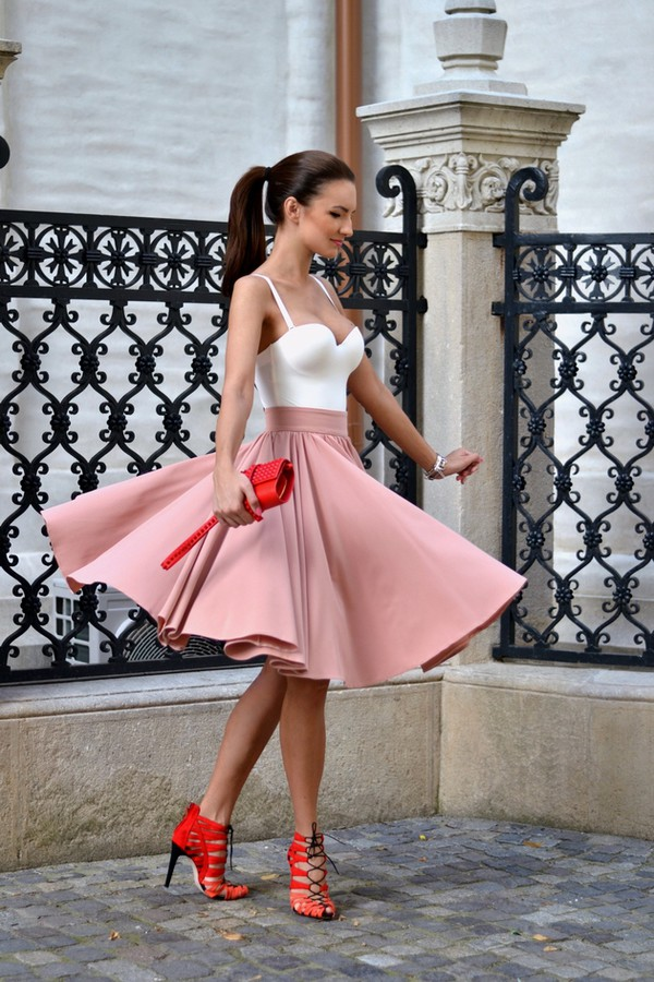 my silk fairytale skirt shoes bag midi skirt heels summer outfits clutch feminine high wasited top pink pink skirt