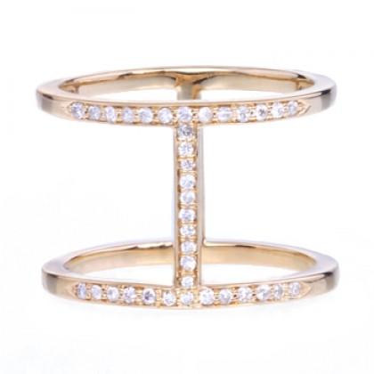 Gold Pave Diamond Elijo Ring by Alexa Leigh | Charm & Chain