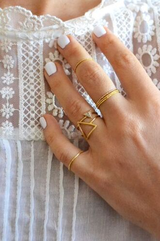 jewels wedding dress ring knuckle ring hipster hipster wedding lace triangle jewelry gold gold ring delicate rings dainty jewelry triangle rings dainty rings white lace top white nail
