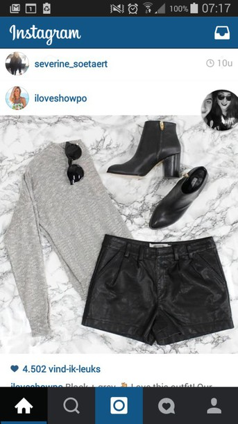 shorts black leather pants