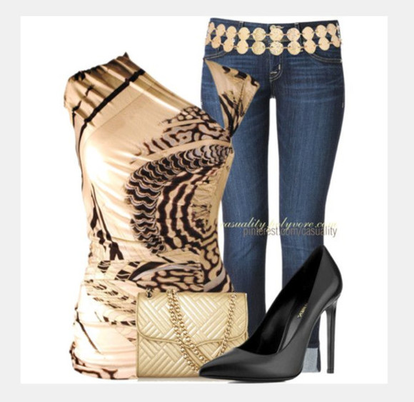 blouse asymmetrical jeans shoes top off the shoulder cut out top pattern short sleeve silky form fitting high heels black heels bag purse clutch clothes outfit