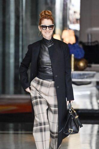 pants high waisted pants gingham top leather top black top coat black coat bag black bag handbag sunglasses black sunglasses celebrity style celebrity singer