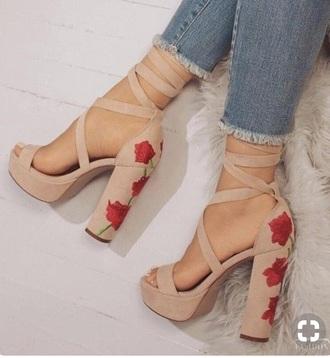 shoes nude flower heels
