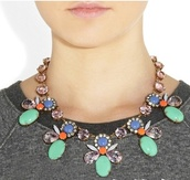 jewels,necklace,statement necklace,j crew,gems
