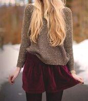 oversized sweater,sweater,burgundy,burgundy skirt,beige,velvet,velvet skirt