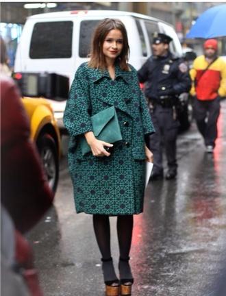 coat green patterned black jacket