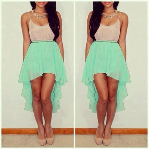 Dress: clothes, mint, nude, blouse, short, nude top, green skirt ...