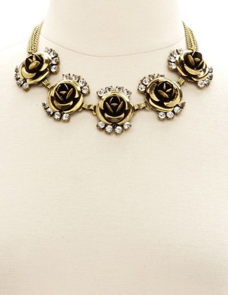 jewels necklace silver rose collar necklaces