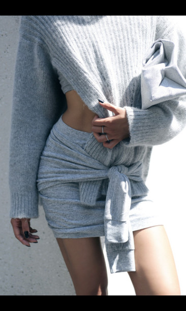 sweater skirt fashion style grey sweater grey skirt knitwear