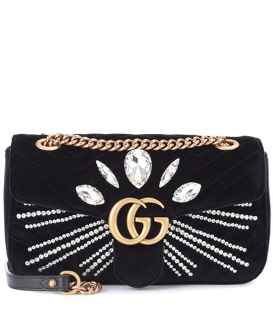 bag shoulder bag velvet black