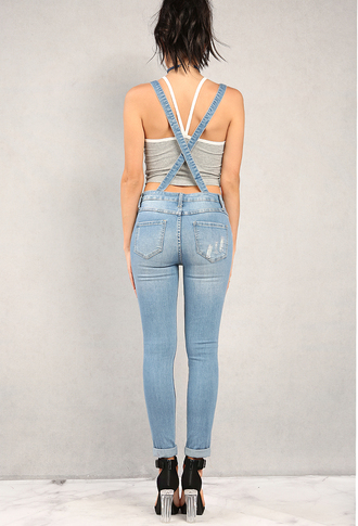 jumpsuit denim overalls blue criss cross