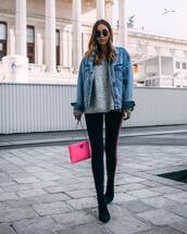 pants,leggings,stripes,sock boots,suede boots,shoulder bag,sweater,knitted sweater,v neck,denim jacket,oversized jacket,sunglasses,earrings