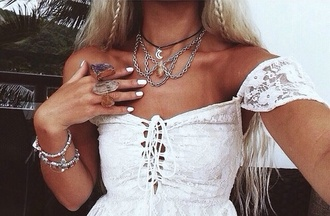 jewels hippie boho gypsy crystal necklace ring choker necklace dress