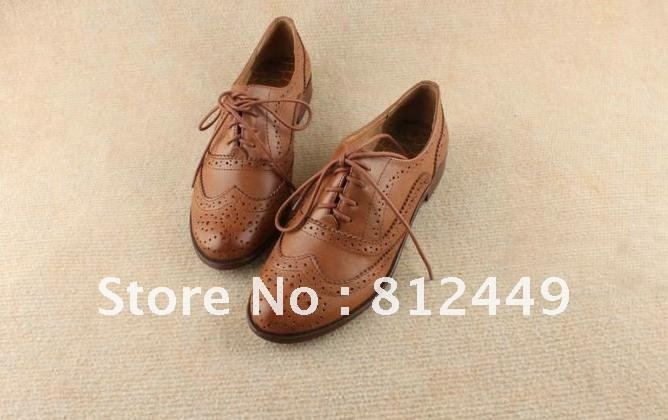 [ renaissance ] free shipping women's 100% genuine leather england vintage carving brogue shoes brown black