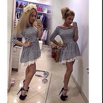 dress striped dress mini dress