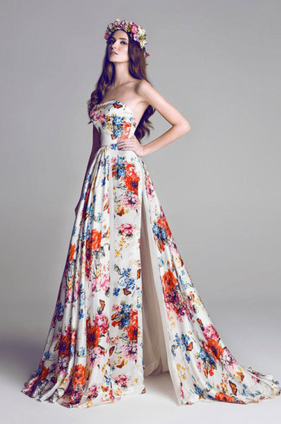 dress long long dress patterened floral dress elegant dress slit dress strapless dress sweetheart dress formal