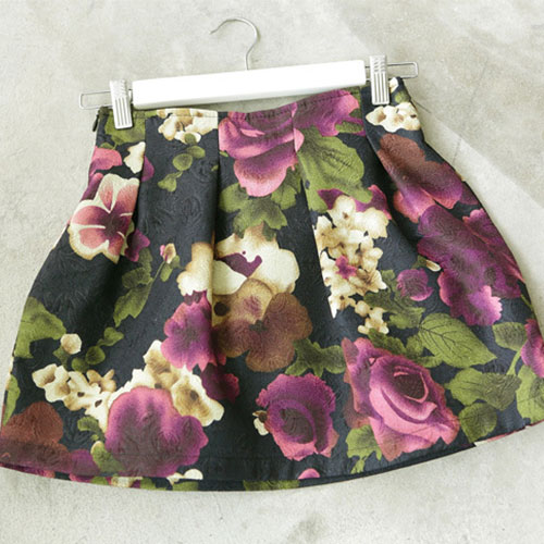 Mixed Color Flower Print Mini Flared Skirt [ghyxh36118] on Luulla