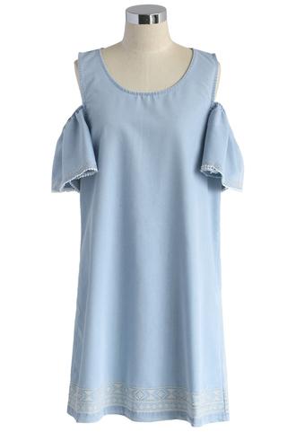 dress cross-stitch lovin' cold shoulder denim dress chicwish denim dress cold-shoulder dress boho dress summer dress chicwish.com