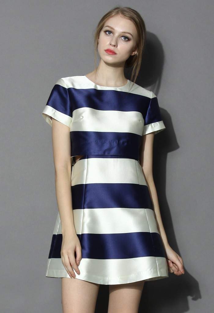 Contrast Stripes Cutout Dress in Blue - Retro, Indie and Unique Fashion