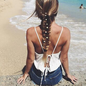 top summer sea beach white summer holidays braid lace top