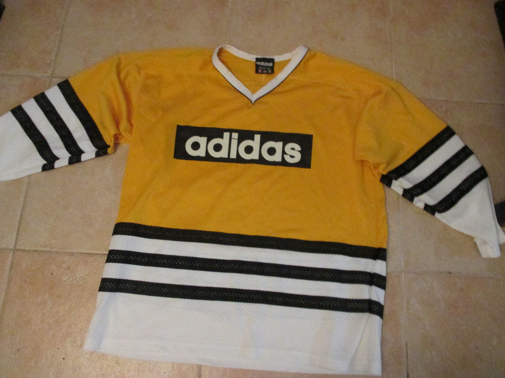 VINTAGE ADIDAS LOGO V-NECK HOCKEY LARGE JERSEY YELLOW/WHITE/BLACK 90s PRE-OWNED