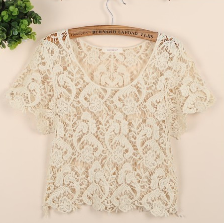 Bohemian vintage lace paisley floral crop tees by country fashion