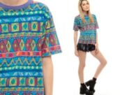 t-shirt,tribal shirt,purple,collared shirts,geometric shapes,80s style