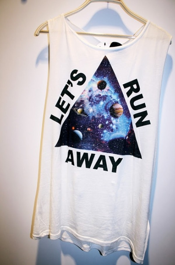shirt white t-shirt singlet lets run away top