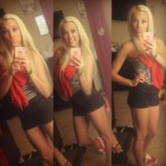 shirt red bow outfit black and white black shorts red romper dress ashley wilson bow strapless striped shirt