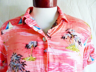shirt mens childish gambino hawaiian button up pink palm tree print