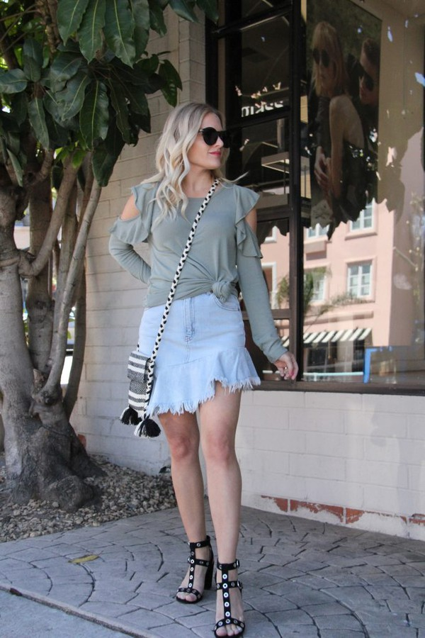 skirt denim skirt mini skirt frilly skirt studded sandals blogger blogger style cut out shoulder crossbody bag sandals