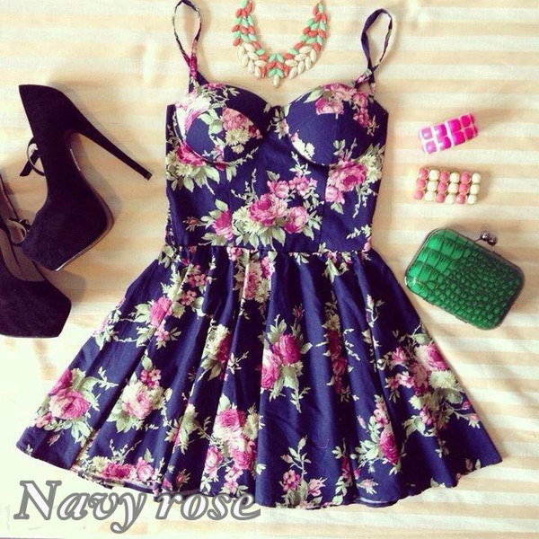 Navy Rose Bustier Dress - Polyvore