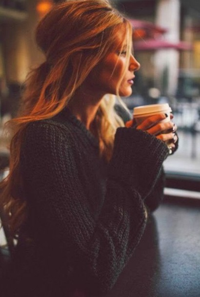 black knitted crochet oversized sweater fall outfits cozy holiday season hair/makeup inspo sweater fluffy jacket knitwear knitted sweater starbucks coffee coffee cardigan warm sweater tumblr