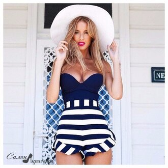 swimwear stripes bralette navy blue and white striped sexy swimsuit ruffled bikini