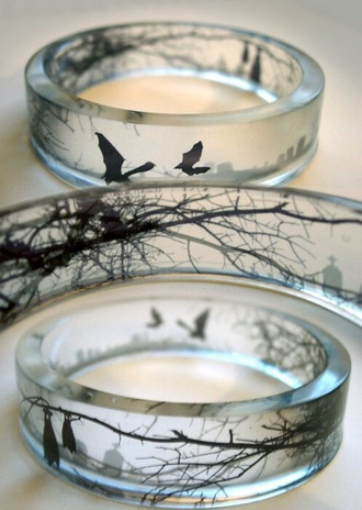 jewels ring transparent stone birds glass rings glass