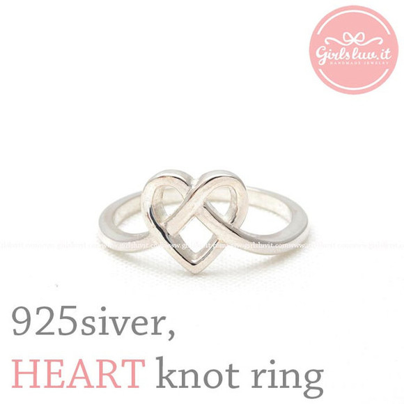 jewels ring heart ring jewelry heart heart knot ring heart knot forever sterling silver ring anniversary engagement wedding