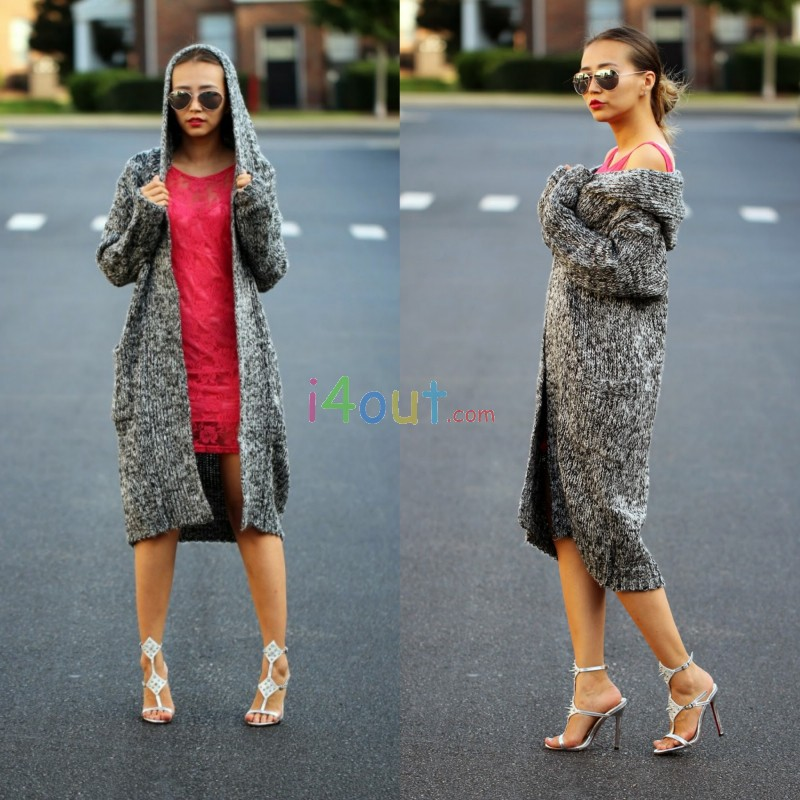 2014 Fall Grey Long Hoodie Cardigan Sweater Jacket Coat Hood
