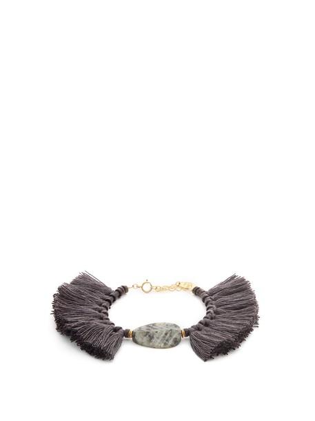 ELISE TSIKIS tassel beaded grey jewels