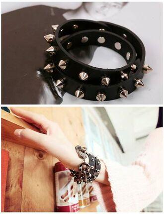 jewels gothic goth black spikes bracelets spiked bracelet