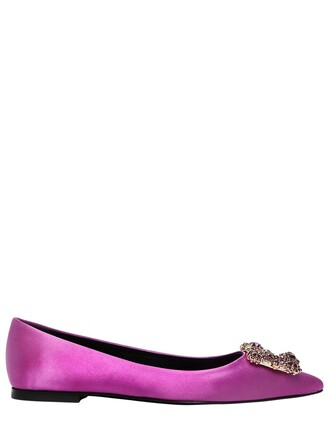 flats satin dark pink shoes