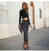 skirt,long sleeves,black crop top,black top,black skirt,style,sunglasses,crop tops,top,maxi skirt,maxi,stripes,striped skirt,blouse,black shirt,black heels,high heels,shoes,cute top,cute high heels,clutch,outfit,bag,purse,accessories,high waisted skirt